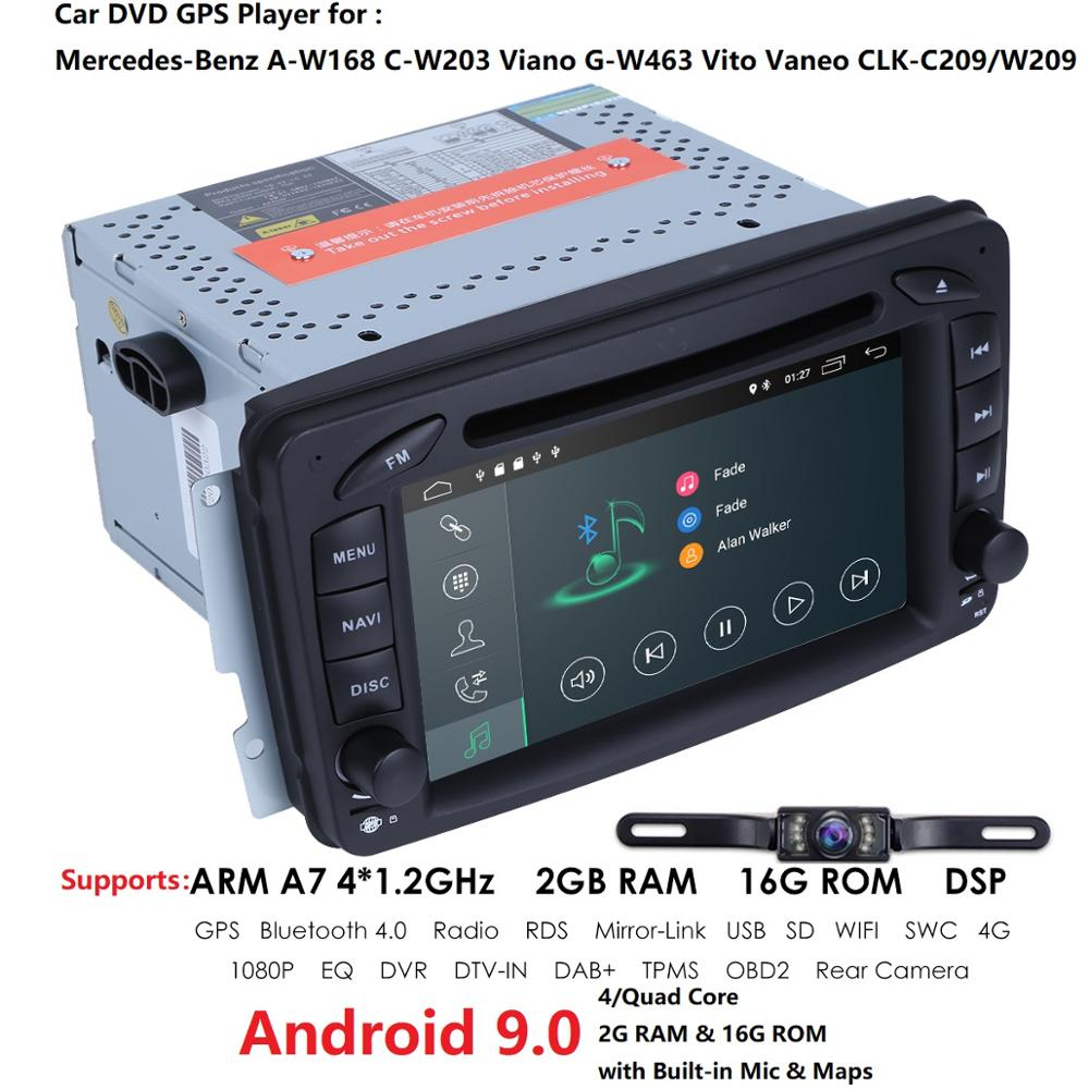 2din 7 inch <font><b>CAR</b></font> DVD PLAYER For Mercedes Benz W209 W203 W168 <font><b>ML</b></font> <font><b>W163</b></font> W463 Viano W639 Vito Vaneo WIFI GPS BT <font><b>Radio</b></font> USB SD Free Cam image