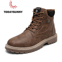 Men Leather Boots Comfortable Winter Warm Shoes Male Motorcycle Men Ank