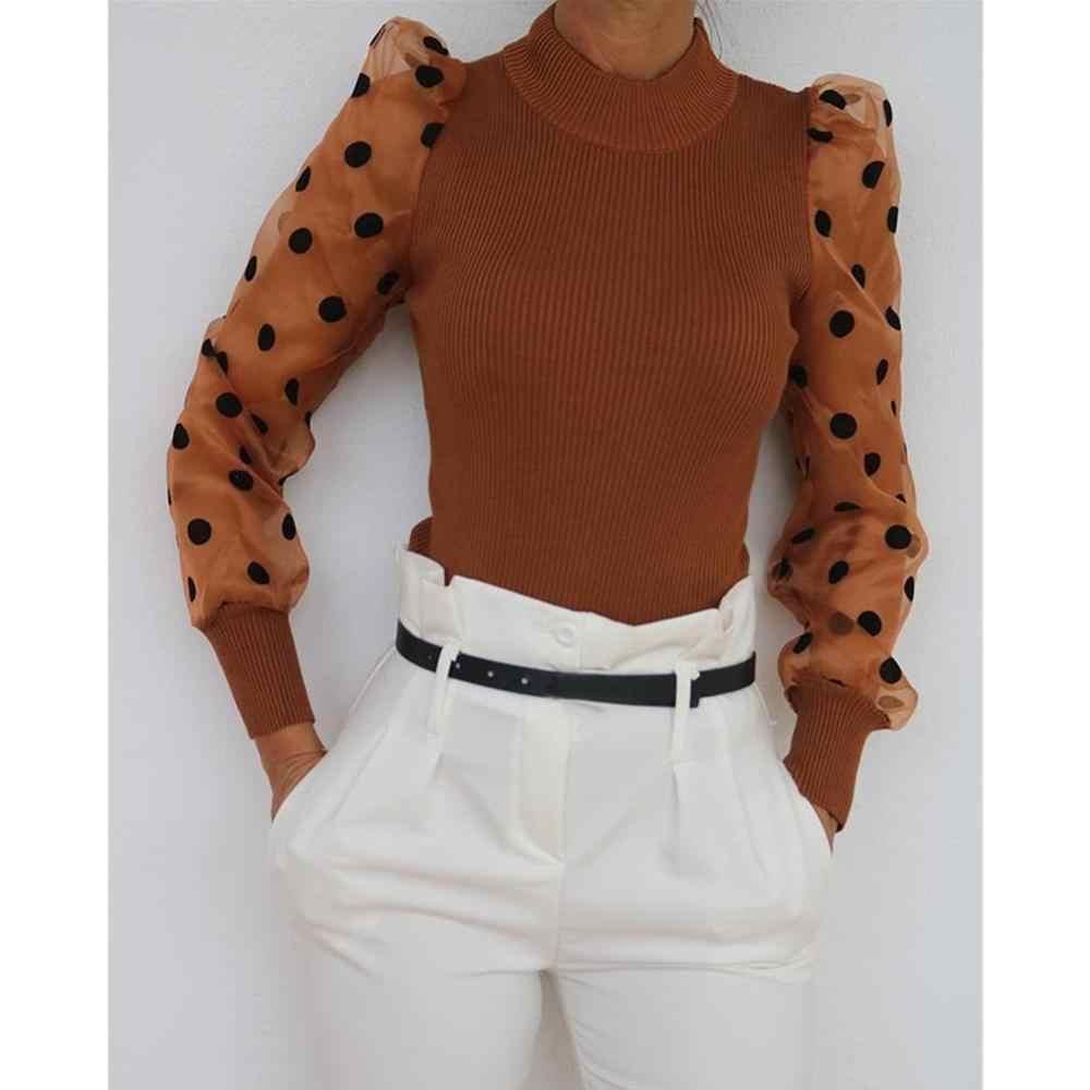 ผู้หญิงตาข่ายพัฟแขนโปร่งใสเสื้อกันหนาว Patchwork Dot พิมพ์เสื้อถักฤดูหนาวฤดูหนาวเสื้อกันหนาวจัมเปอร์ดึง Femme
