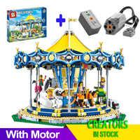 Z silnikiem kompatybilny legoingLYS 10257 15036 Building Blocks Creator ulica miasta karuzela edukacyjne zabawki dziecięce prezenty urodzinowe