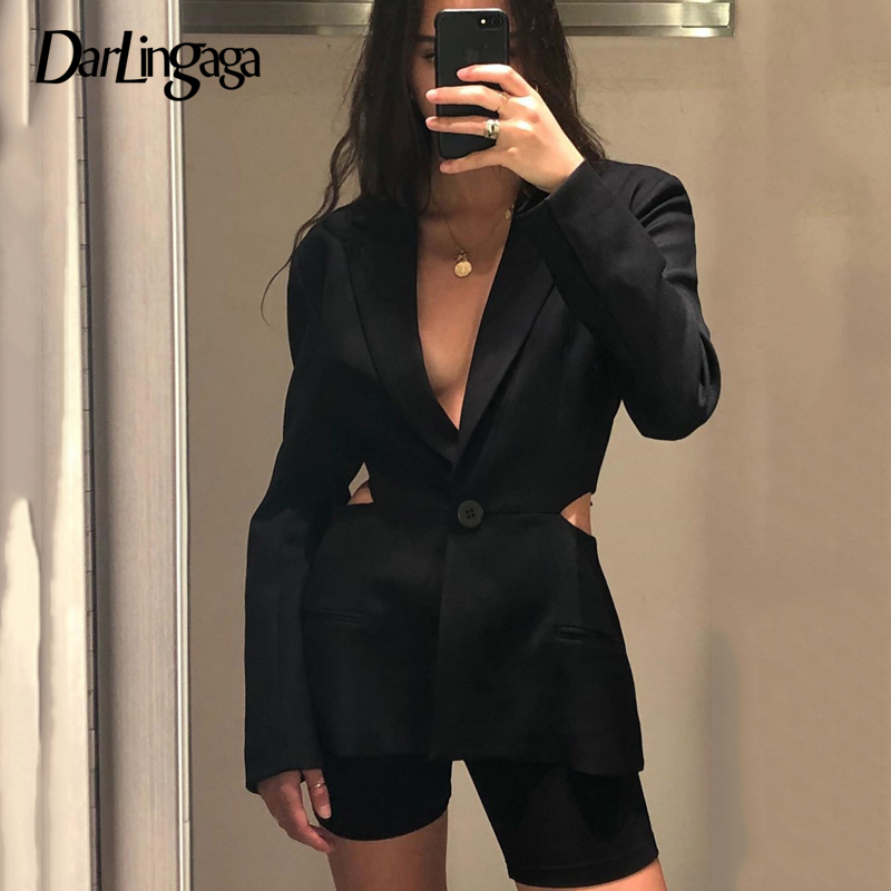 Darlingaga Fashion Elegant Black Autumn Blazer Ladies One Buttons Coat Waist Hollow Out Office Women Blazers And Jackets Outwear