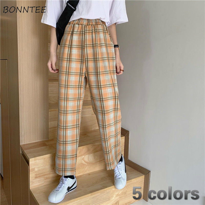 Pants Women Plaid Full-length Casual High Waist Wide Leg Korean Style Retro New Fashion Chic Trendy Students School Daily Womens