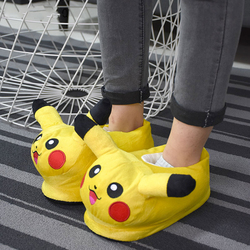 Pika Slippers Adult Size Kigurumis Anime Pokemons Plush Shoes Cosplay Festival Cute Non-Slip Casual Shoes Woman Sneakers Party