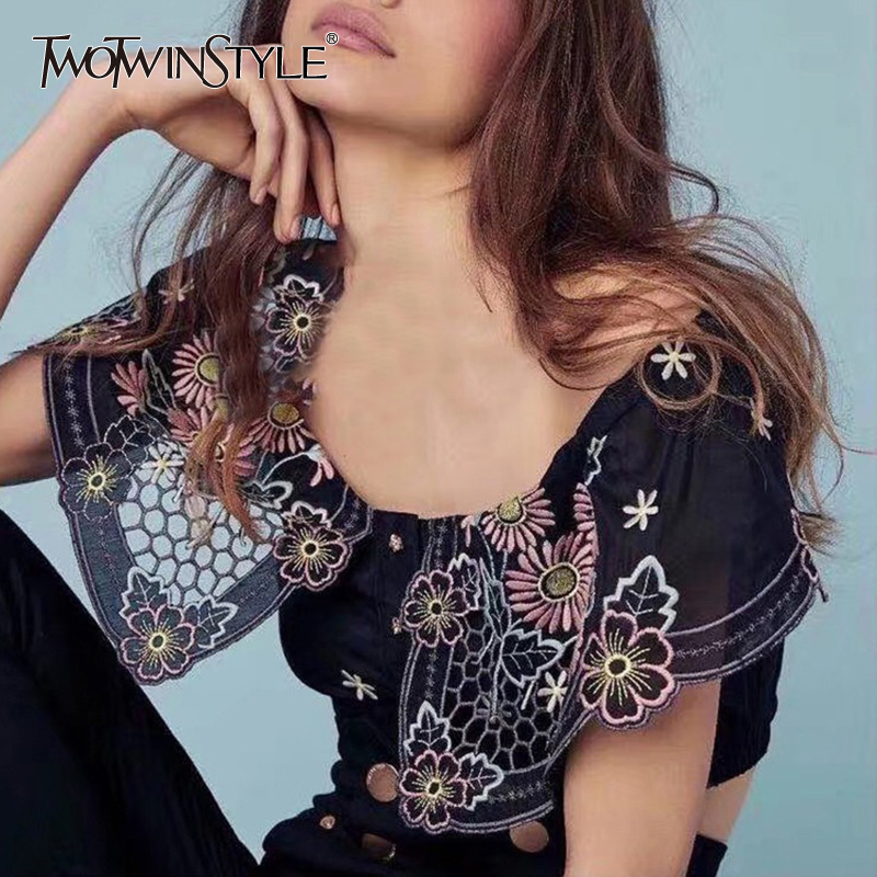 TWOTWINSTYLE Sexy Embroidery Shirt For Women Slash Neck Off Shoulder Short Blouse Female Fashion Clothing Summer 2020 New