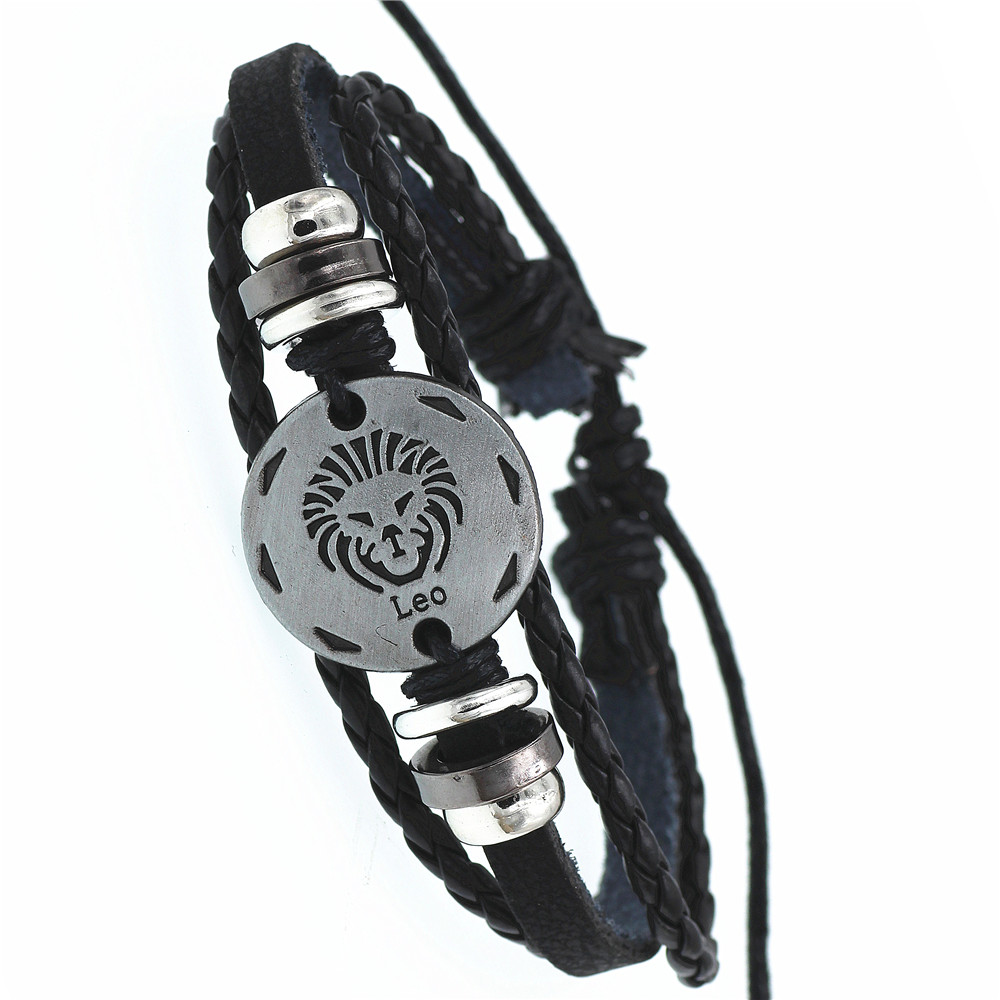 12 Zodiac Constellation Sign Jewelry Ancient   Taurus Leo Pisces Libra Punk Black Braided Leather Bracelet for Men Women