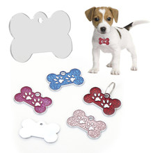 Bone Zampa Stampa Glitter Pet TARGHETTE IDENTIFICATIVE Inciso Personalizzato In Lega di Zinco Tag Collare dell'animale domestico Del Gatto Del Cane Carta d'identità chiave anello Cane ornamenti(China)