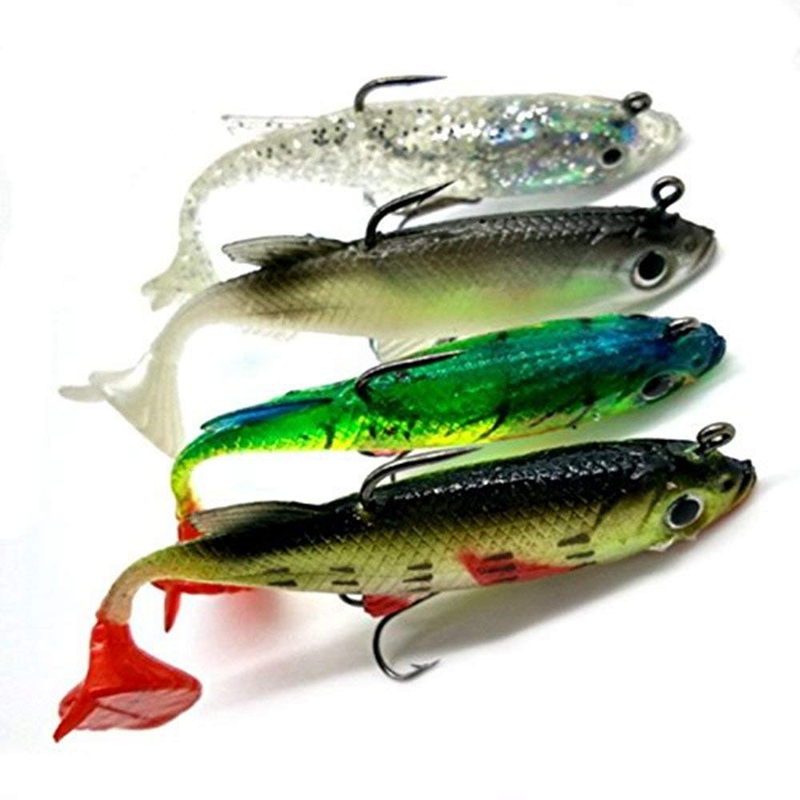 4pcs Arrive 8cm 14g Soft Bait Lead Head Sea Fish Lures Fishing Tackle Sharp Treble Hook T Tail