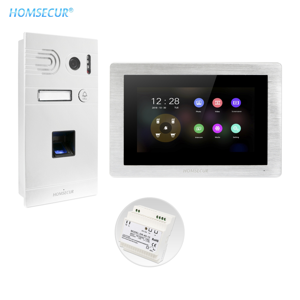 """HOMSECUR 7"""" Wired AHD Video&Audio Home Intercom with Fingerprint Camera 110° BC061HD-S"""