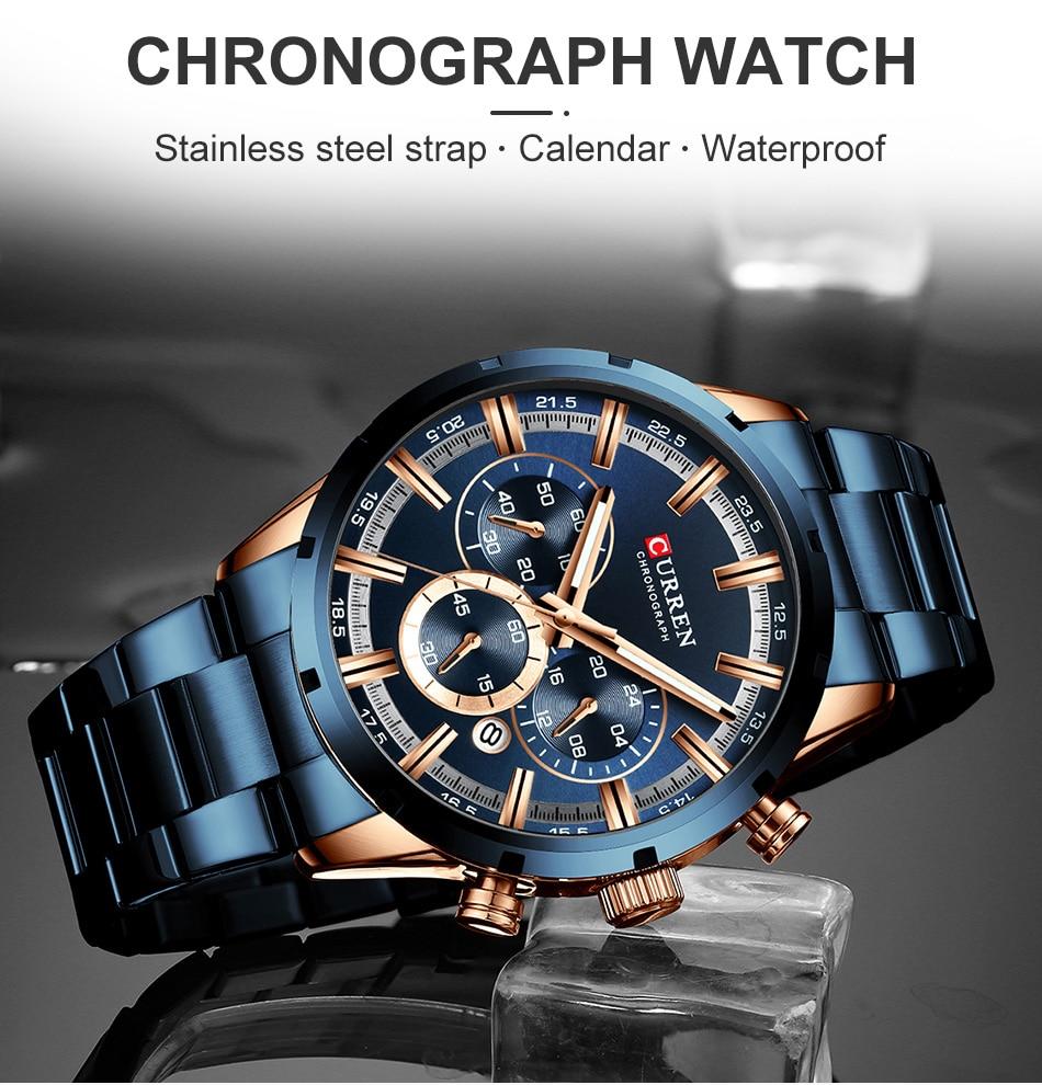 H5cd0add90f7c459083388c09aec1907fc CURREN Men Watch Top Brand Luxury Sports Quartz Mens Watches Full Steel Waterproof Chronograph Wristwatch Men Relogio Masculino