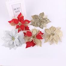 Behogar, 6 шт., рождественские украшения, цветы для дома, рождественские, вечерние, искусственные, рождественские, декоративные цветы