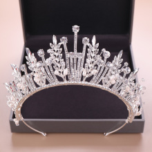 Trendy Baroque Silver color Rhinestone Crystal Crown Leaf Wedding Headdress Tiara Bridal Hair Accessories Jewelry Accessories недорого