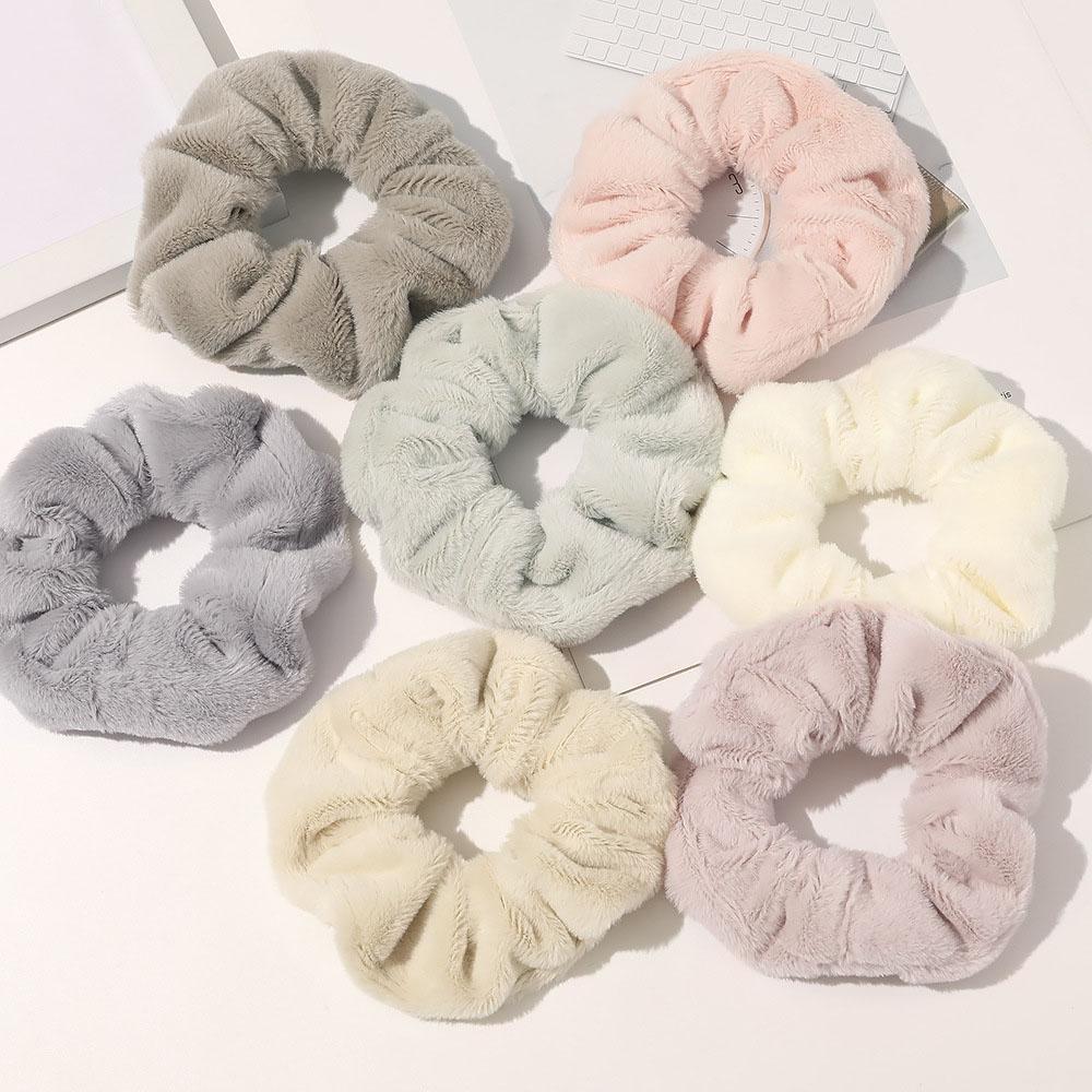 Новая Теплая эластичная резинка для волос, мягкая резинка из искусственного меха для женщин и девушек, аксессуар для волос