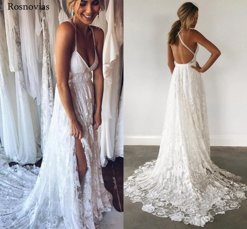 Арабский Бохо Полный Кружева Свадебные платья 2020 Спагетти ремень без рукавов спинки развертки поезд Сторона Сплит скромные пляжные свадеб