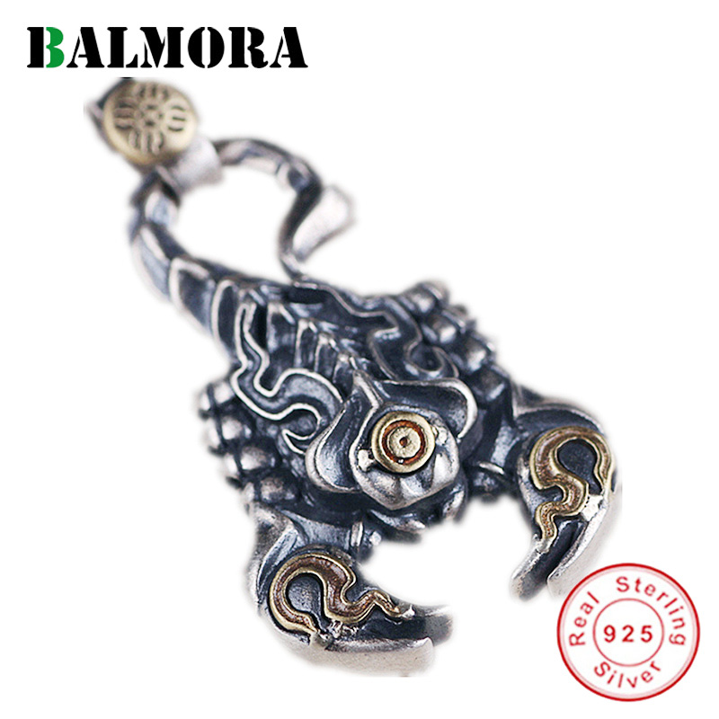BALMORA 925 Sterling Silver Scorpion Retro Pendants for Men Women Couple Cool Punk Fashion Jewelry Accessories Without Chain