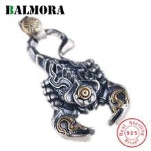 BALMORA 925 Sterling Silver skorpion Retro wisiorki dla mężczyzn kobiety para fajne moda punk biżuteria akcesoria bez łańcucha
