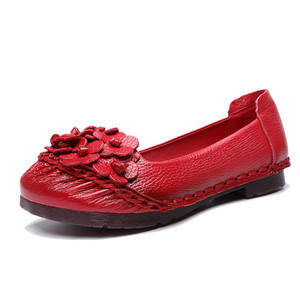 Image 5 - BEYARNE2019 لينة جلد طبيعي حذاء مسطح المرأة الشقق مع الزهور السيدات أحذية النساء المصممين المتسكعون زلة OnE865
