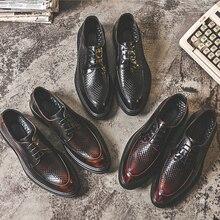 Yominior, zapatos de Vestir Vintage británico para hombre, zapatos de vestir de cuero con cordones en punta, zapatos informales formales de negocios, zapatos negros Oxfords de boda