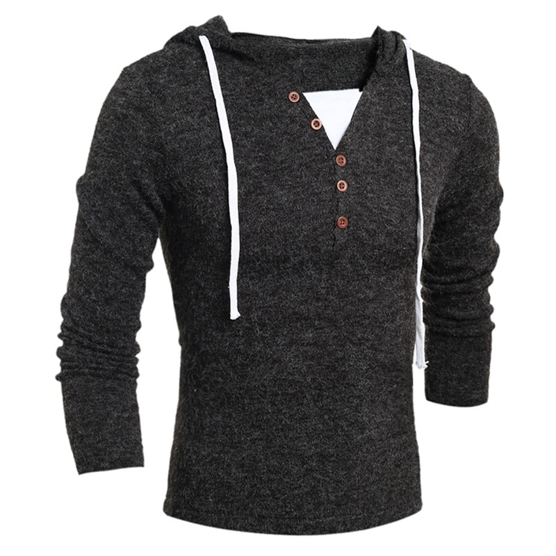 Vogue Brand Nice New Men Long Sleeve Sweaters Fashion Design Solid Hooded Knit Sweater Coat Men Clothes Slim Fit Pullovers