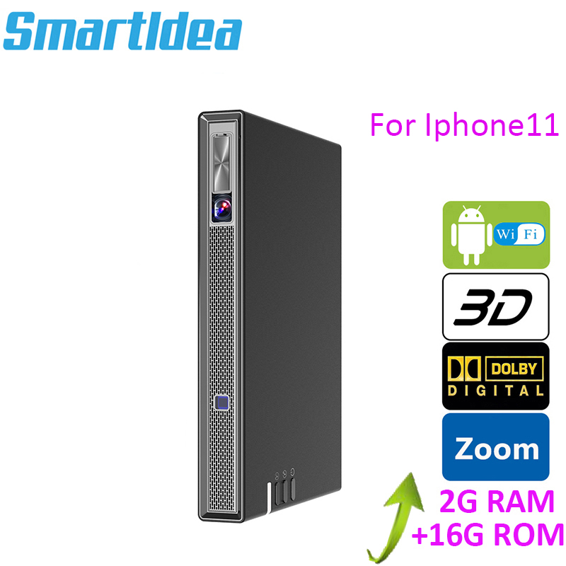 Smartldea DLP Projector Battery Keystone Bluetooth Android-6.0 Real 4K Airplay T5 3D title=