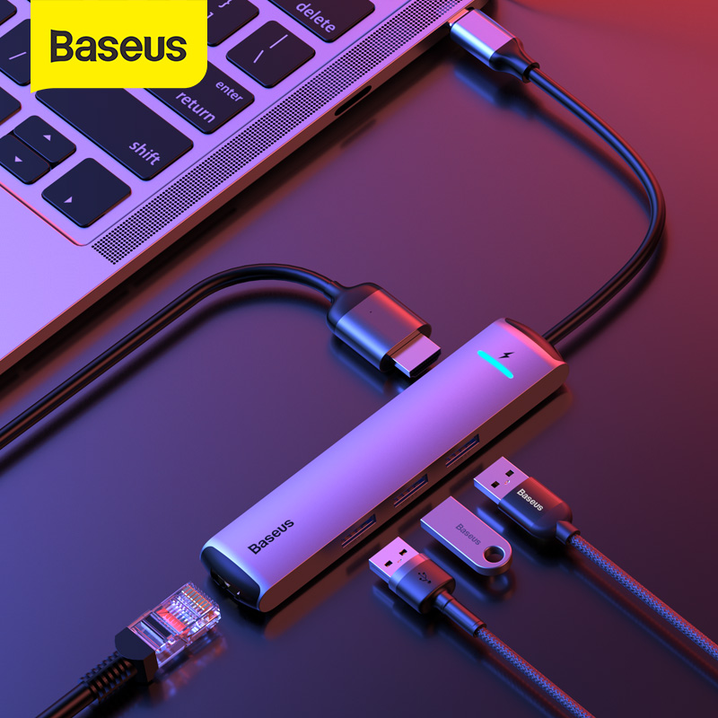 Baseus USB C HUB USB to Multi HDMI USB 3.0 RJ45 Carder Reader OTG Adapter USB Splitter for MacBook Pro Air USB Dock Type C HUB(China)