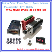 100W Brushless Spindle 45Ncm DC 42mm Motor+ Drive + Power Supply + Speed Indicator + Potentiometer + ER11 Collets Match MACH3