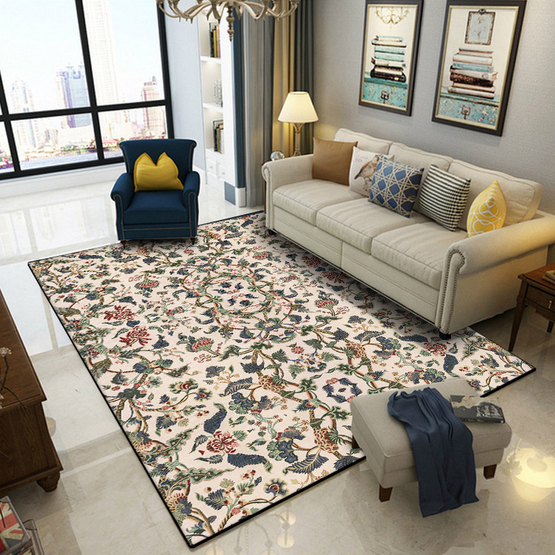 Американские ретро-коврики с цветами, домашний декор для гостиной, спальни, кровати, боковое одеяло, кухонные двери, напольные коврики, пуши...