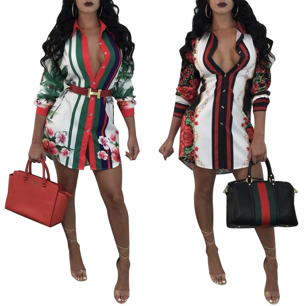 2019 African Clothes Summer Plus Size Sexy Mini Shirt Dress Women Boho Print T Shirt Beach Dresses Vestidos Verano Tshirt Party