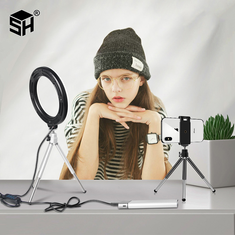 16cm Stepless Dimmable LED Makeup Selfie Ring Light for Youtube Video Camera Continuous Lighting Photo Studio Live Beauty Light image