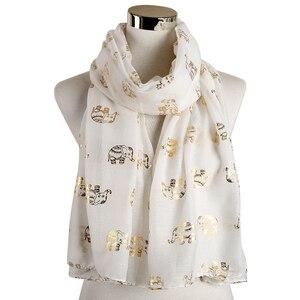 Image 3 - Foxmother Nieuwe Folie Gold Sliver Olifant Animal Print Sjaal Hijab Moslim Sjaal Wraps Ring Loop Sjaals Vrouwen