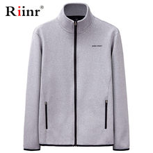 Riinr Herren Sweatshirts Keine Haube Männer der Herbst Winter Freizeit Sport Strickjacke Zipper Sweatshirts Tops Jacke Mantel Solide Hoodies Männer(China)