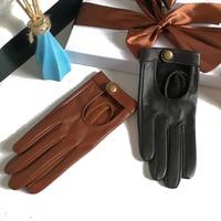 Guantes de media palma para mujer, manoplas con remaches, guantes para conducir de moda, genuinos, de Cuero de cabra Real, a la moda, G599, 2021
