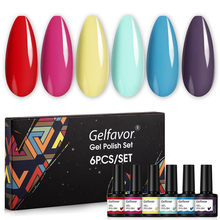 Gelfavor Gel Nail Polish Set 6Pcs Hybrid Varnish Kit For Manicure Set Soak Off UV LED Lamp Semi Permanent Nail Art Gel Gift Kit