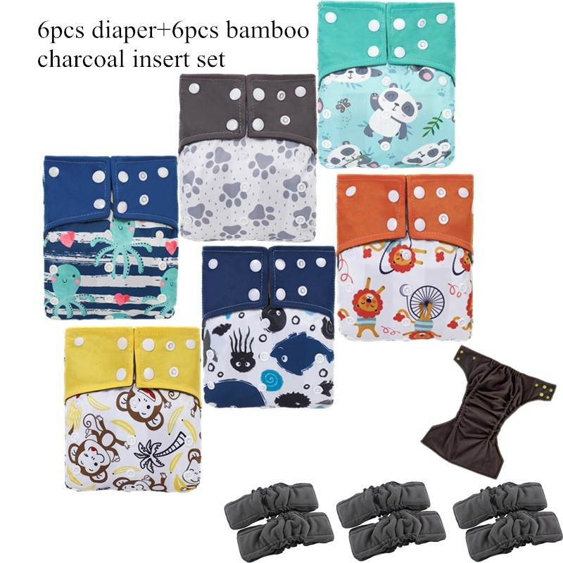 [ Simfamily ] 6 шт . многоразовые подгузники из бамбукового угля, тканевые подгузники , водонепроницаемые, один размер , карманные подгузники , двой...