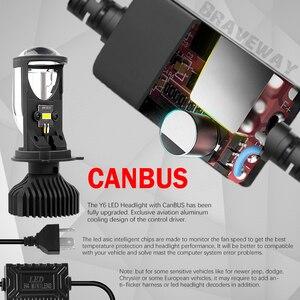 Image 4 - BraveWay H4 Led عدسة المصباح مصابيح سيارات Atuo مصابيح 12 فولت LED CANBUS LED H4 المصابيح مع أجهزة عرض صغيرة ضوء 5500K