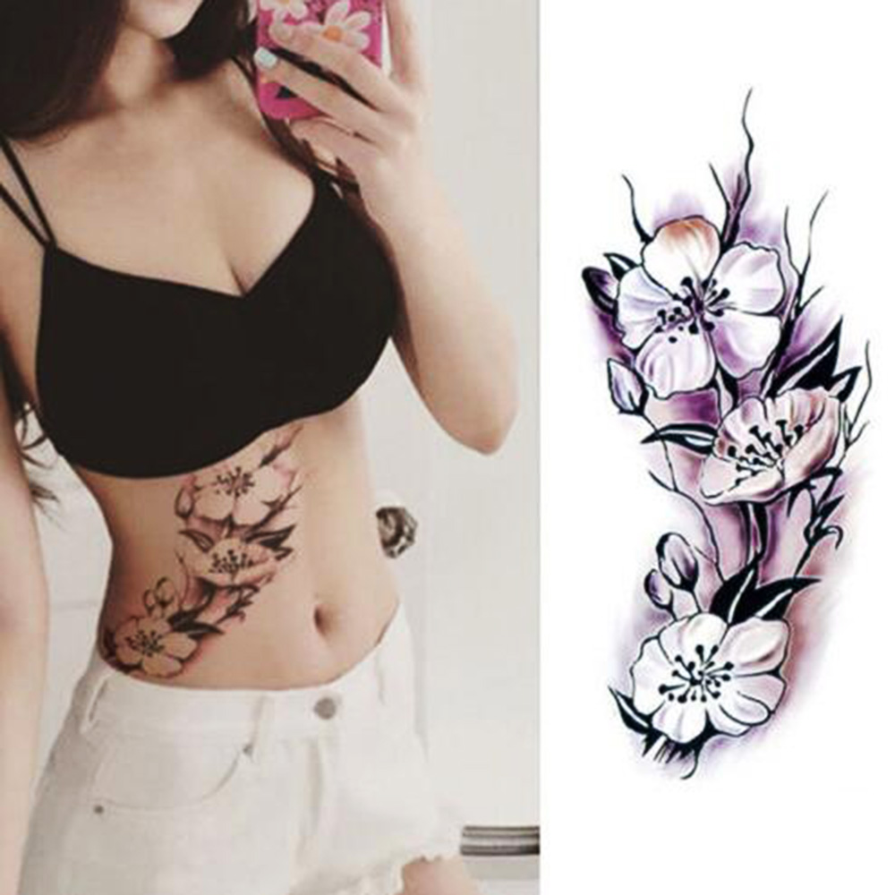 1PC New Fashion Removable Women Lady 3D Flowers Waterproof Temporary Tattoo Stickers Beauty Body Art Easy Wear And Easy Clean