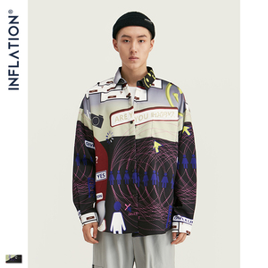 Image 2 - אינפלציה 2020 FW Oversize גברים חולצה Streetwear 2020 סתיו מצחיק דיגיטלי הדפסה ארוך שרוול גברים חולצה Harajuku גברים חולצה 92155W