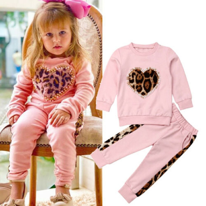 Toddler Baby Girl Kid Outfits Clothes Tops Blouse Dress+Heart Leggings Pants Set