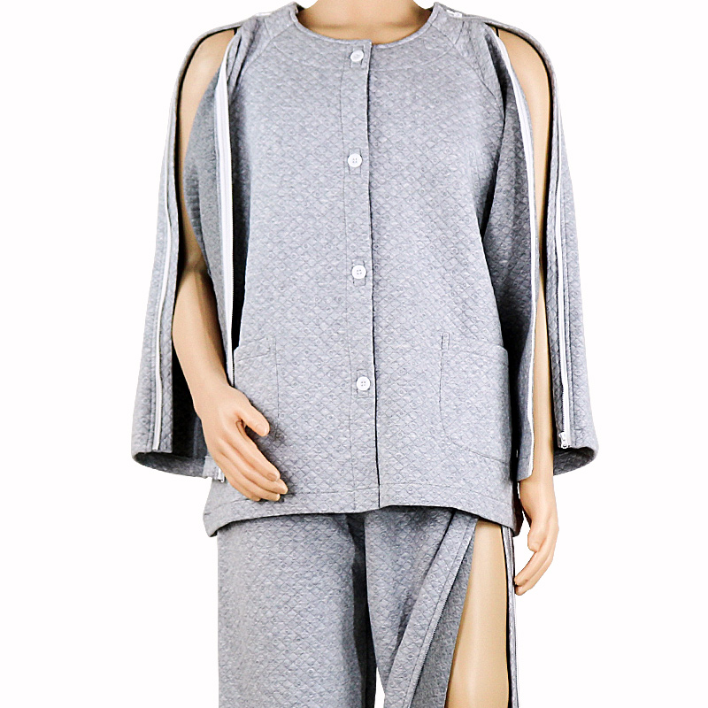 Elderly Care Clothes Easy Wear Off Thicken Cotton Clothing, For Paralysis Long Time Disability Incontinence Patient,gray,zipstyl