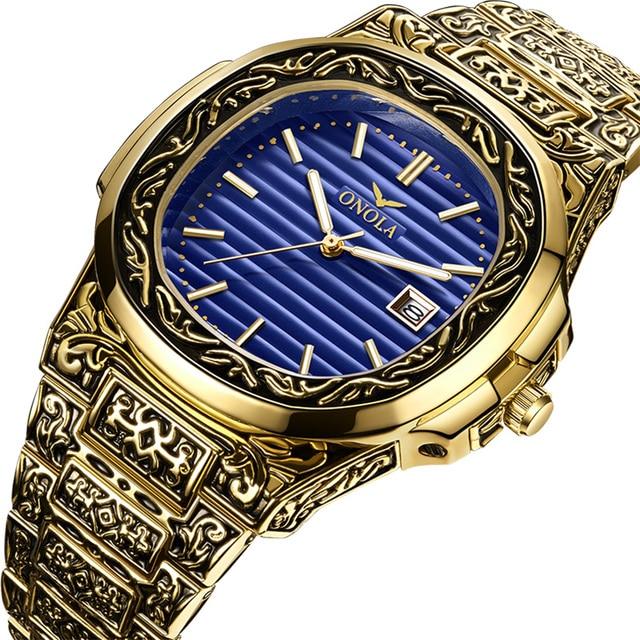 ONOLA Men's Retro Classic Vintage Fashion Calendar Date Display Waterproof Quartz watches