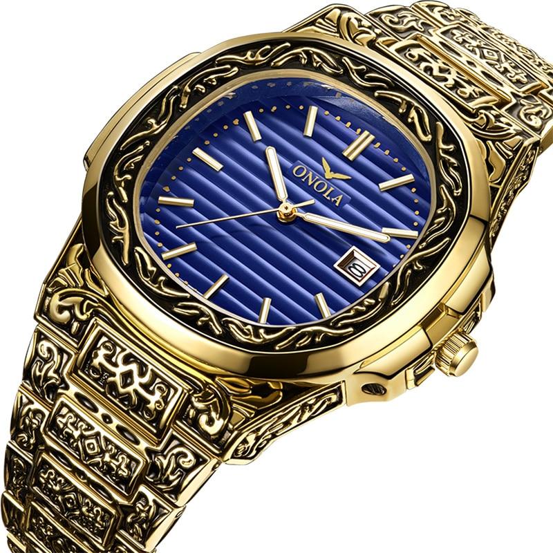 ONOLA الفاخرة العلامة التجارية الكوارتز المنشأ ساعة الرجال 2019 الذهب الكلاسيكية Vintage ساعة اليد مقاوم للماء uniqu الذهبي موضة ساعة رجالية عادية-في ساعات الكوارتز من الساعات على AliExpress