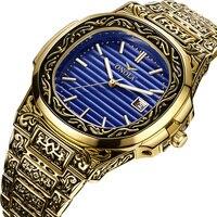 ONOLA Produto genuíno de luxo homens relógio de quartzo origem 2019 unique ouro clássico relógio de pulso à prova d' água Do Vintage moda casual homens relógio de ouro|Relógios de quartzo| |  -