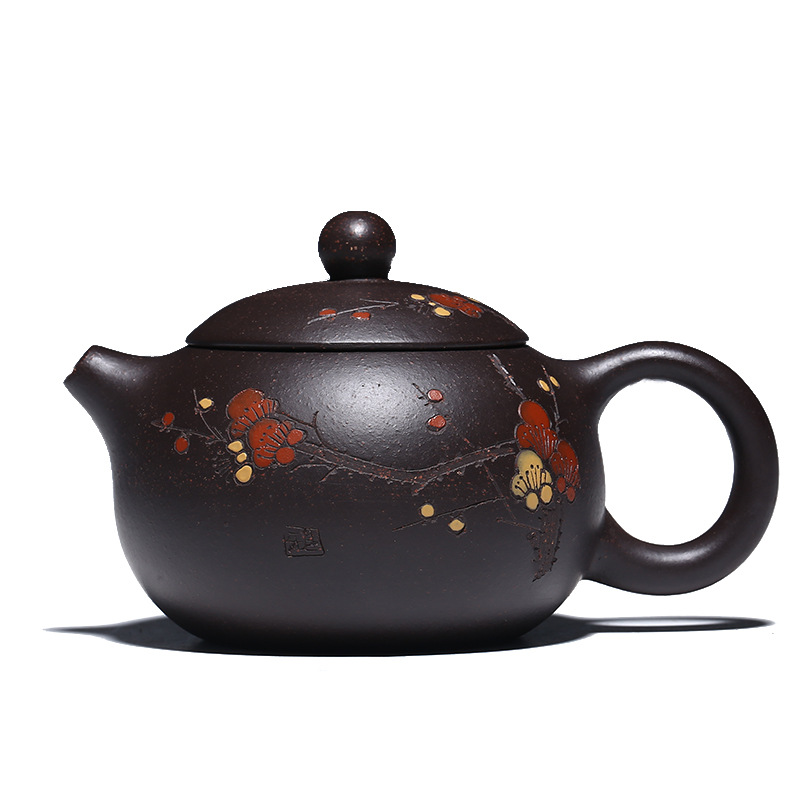 Chinese Yixing Teapot Pure Hand Handmade Colourful Mud Painted Plum Fragrant Xi Shi Pot Purple Clay 188 Ball Hole 160ml