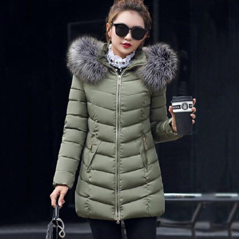 2020 Winter Jacket Women Big Fur Hooded Thick Down Parkas Female Long Coat Plus Size Winter Coat Women Slim Warm Outwear 5XL