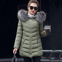 2019 Winter Jacket Women Big Fur Hooded Thick Down Parkas Female Long Coat Plus Size Winter Coat Women Slim Warm Outwear 5XL