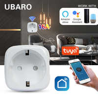 UBARO-enchufe inteligente Tuya de 16A, toma de corriente con Wifi en casa, Control por voz y aplicación remota, funciona con Alexa y asistente de Google AC100-240V