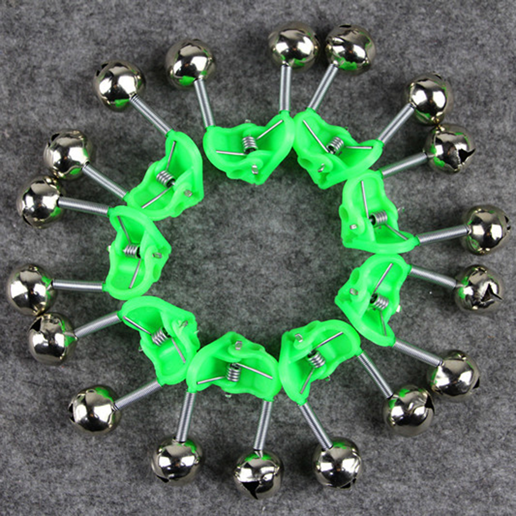 1/10Pcs Bite Alarms Fishing Rod Bells Fishing Accessory Rod Clamp Tip Clip Bells Ring Green Outdoor Fishing Angling Tool