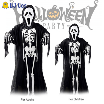 Kostiumy na Halloween dla rodziny kostium imprezowy dla rodziców i dzieci czaszka Horror straszne szaty duch dorosłych dzieci Cosplay Cape tanie i dobre opinie TDAICHAN Unisex Dla dorosłych Poliester Black and white Halloween party
