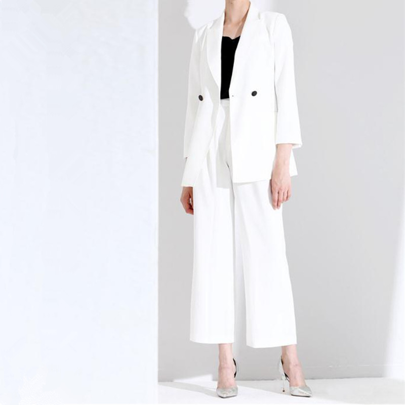 Women's Suit Women's Elegant Suit Jacket With Trousers White Casual Double-breasted Suit Two-piece Suit (jacket + Pants) Custom