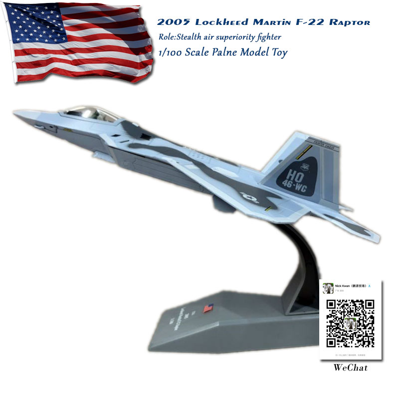 AMER 1/100 Scale Military Model Toys USAF F-22 Raptor Stealth Fighter Diecast Metal Plane Toy For Collection/Gift