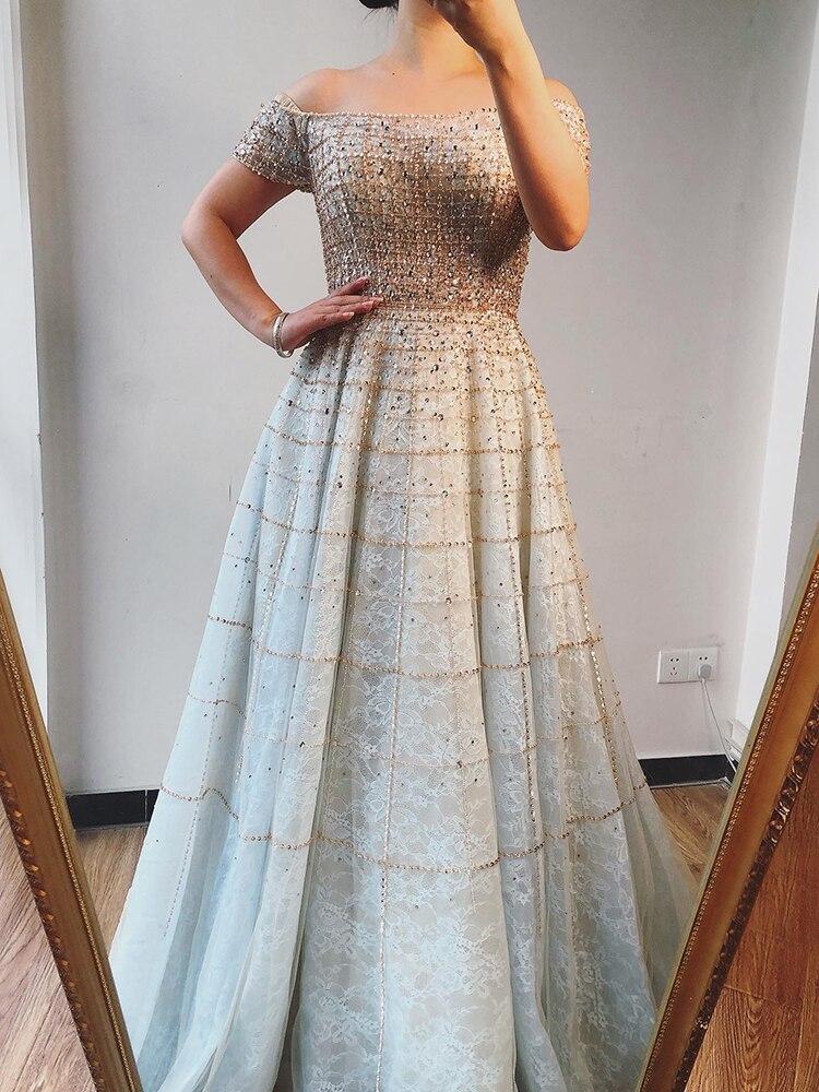 Evening-Dresses Serene Hill Off-Shoulder Beading Dubai Silver Diamond Short A-Line LA70263